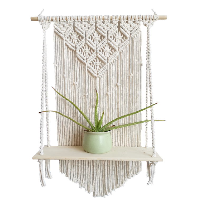 Macrame Wooden Wall Hanging Rack, Wicker Plant Flower Hanging Rack, Pot Hanging Container